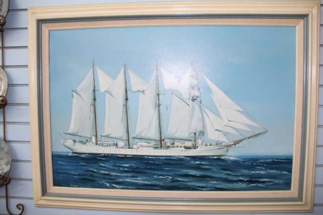 Oil on canvas clipper ship by dean percy