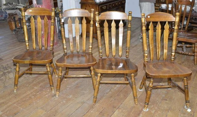 4 dining chairs all wood w some wear lot 213 for All wood dining room chairs