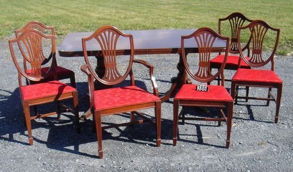 386 MAHOG DUNCAN PHYFE DINING ROOM TABLE SIX CHAIRS Lot 386