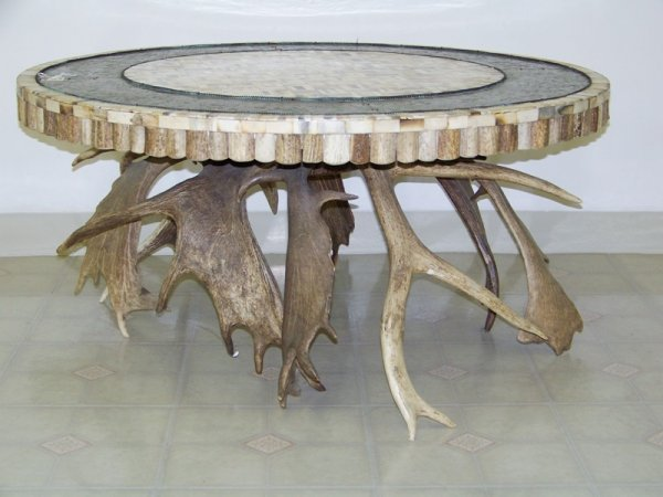 113 Moose Elk Antler Copper Coffee Table Maitland Sm Lot 113