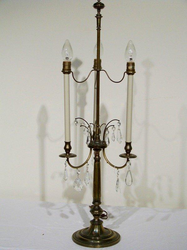229a vintage stiffel brass crystal 39 table lamp lot 229a. Black Bedroom Furniture Sets. Home Design Ideas