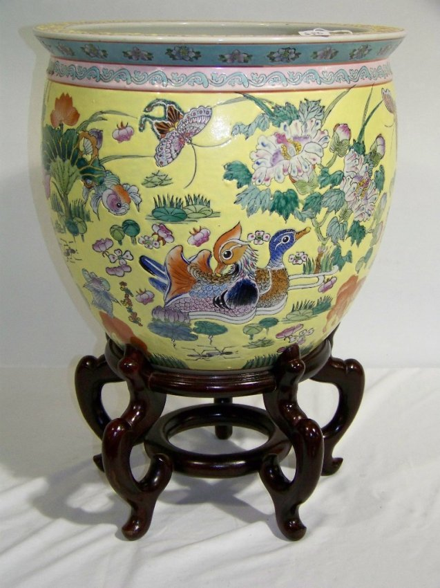 270 vintage chinese fish bowl with stand lot 270 for Fish bowl stand