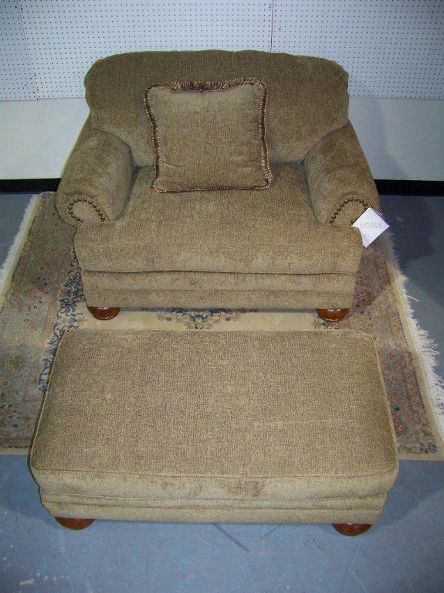 257 Ashley Furn Overstuffed Chair & Ottoman Lot 257