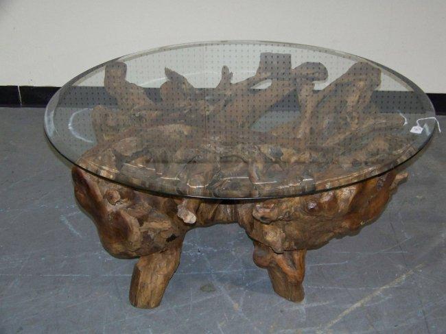 Mid C Modern Cypress Stump Coffee Table Lot 292