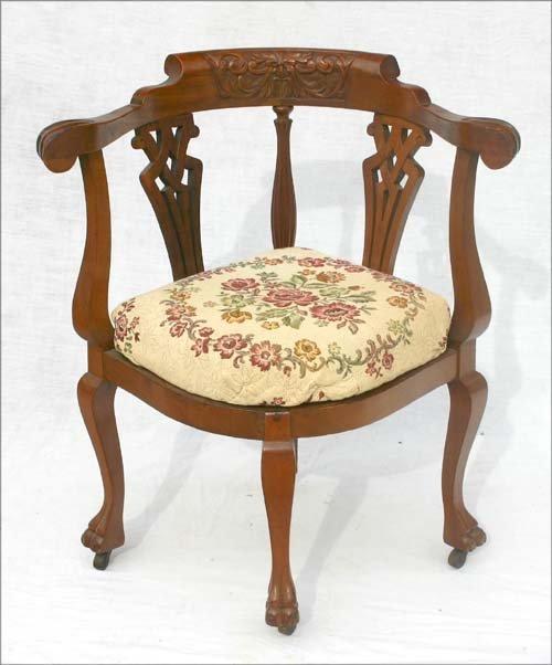 50a fine condition antique corner chair w windblower c