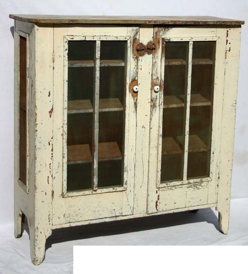 35: Antique Pie Safe In Old White Paint