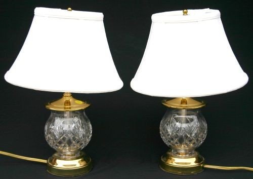 74 pr of small waterford crystal table lamps w sgnd wa lot 74. Black Bedroom Furniture Sets. Home Design Ideas