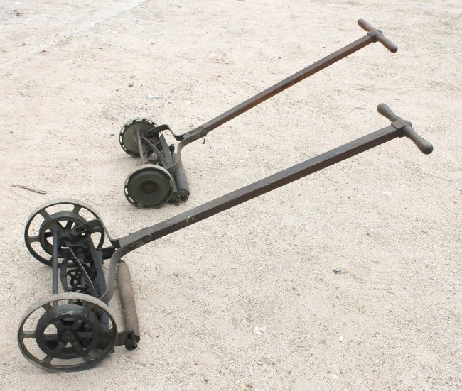 380b 2 old fashioned antique push lawn mowers by blair lot 380b. Black Bedroom Furniture Sets. Home Design Ideas