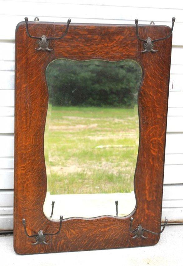 330 Antique Oak Hat Rack Beveled Glass Mirror 36 Quot X