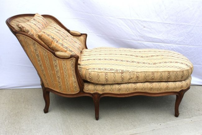 Antique french style chaise lounge w down cushion pil for Antique style chaise lounge