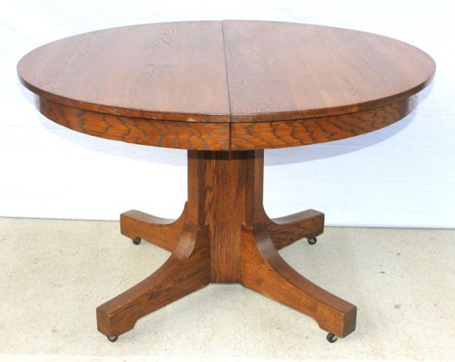 45 Round Mission Oak Dining Table W Two 8 Leaves Lot 339