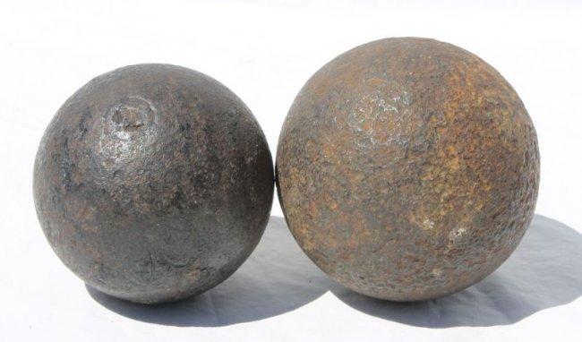 Wwi era cast iron cannon balls quot diam lot