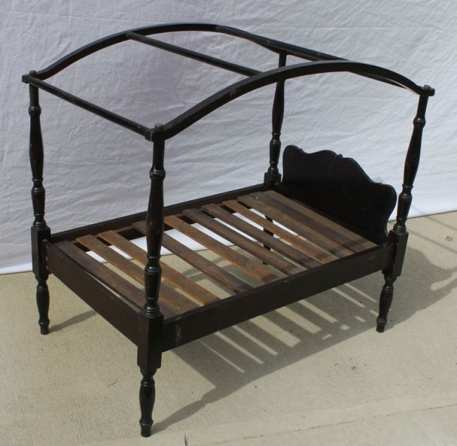antique wooden carved doll 39 s canopy bed 33 long x lot 5