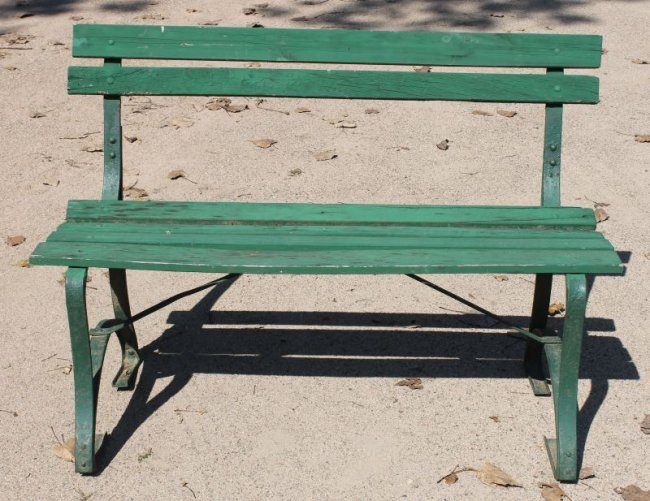 Wood Cast Iron Park Bench In Green Paint Lot 155b