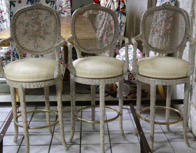 382 3 Swivel Bar Stools Cane Back Country French Styl