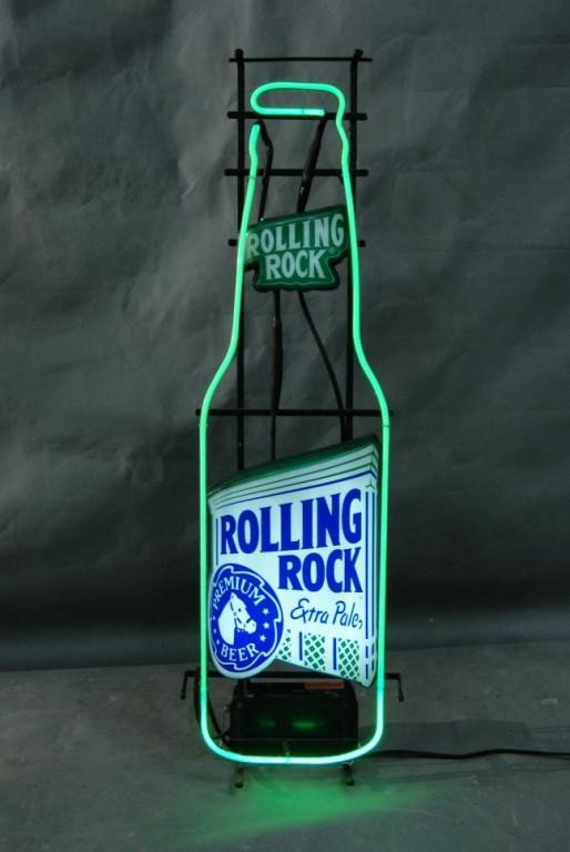 83: Rolling rock neon sign : Lot 83