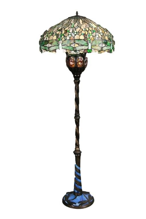95 6 Tiffany Style Dragonfly Floor Lamp Lot 95
