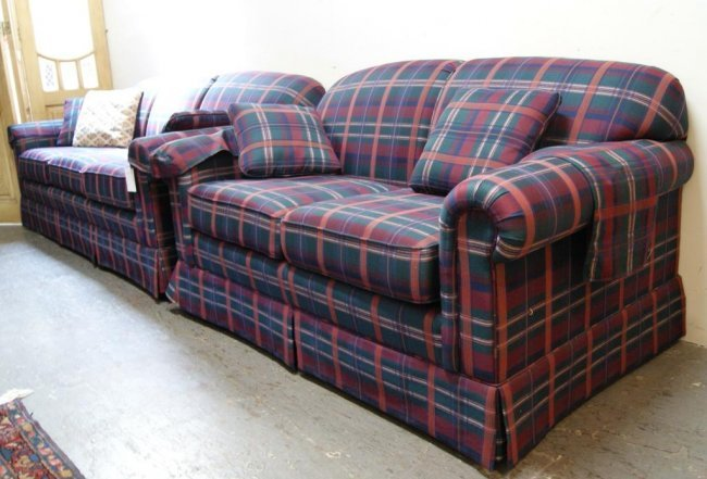281a lazy boy country green plaid sofa and love seat. Black Bedroom Furniture Sets. Home Design Ideas