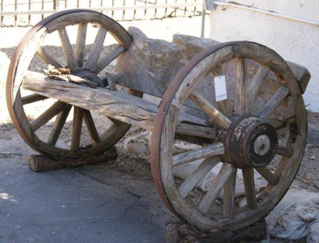 487a Rustic Wagon Wheel Garden Bench Lot 487a