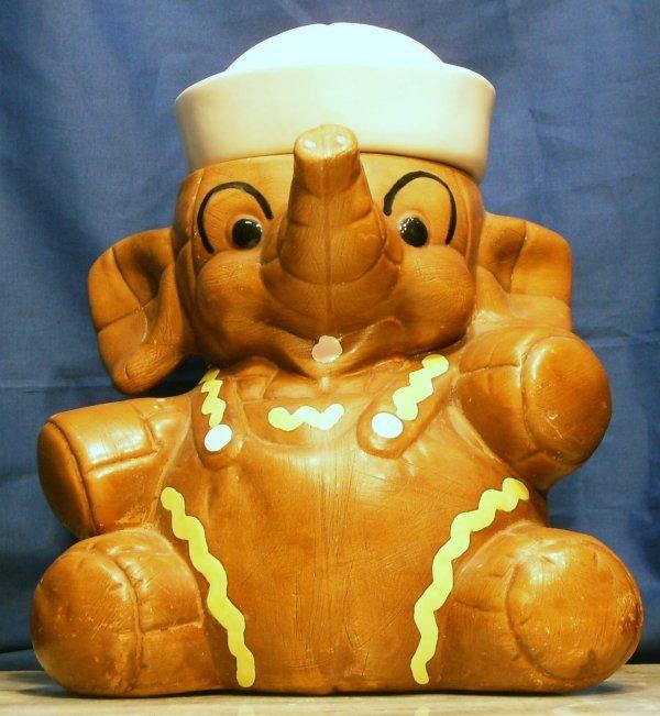 104 sailor elephant cookie jar by twin winton marked lot 104 - Vintage elephant cookie jar ...