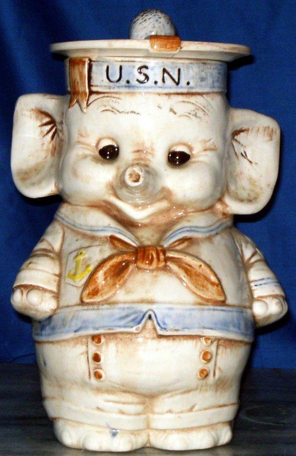 245 elephant sailor cookie jar marked treasure craft lot 245 - Vintage elephant cookie jar ...