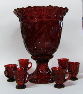 2878 cambridge red carmen wild rose punch bowl lot 2878. Black Bedroom Furniture Sets. Home Design Ideas