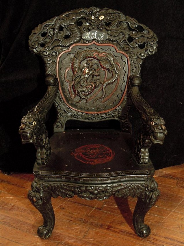 Antique Japanese Dragon Carved Arm Chair : Lot 507