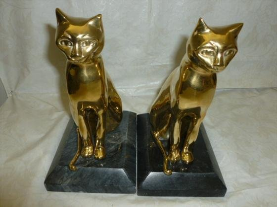 Pair brass and marble cat bookends lot 7572 for Decorative crafts inc brass