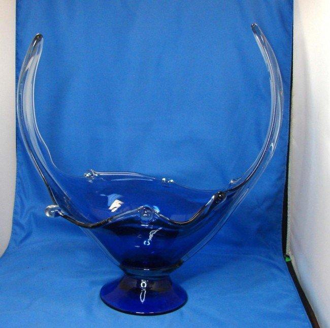 Cobalt blue hand blown art glass centerpiece bowl