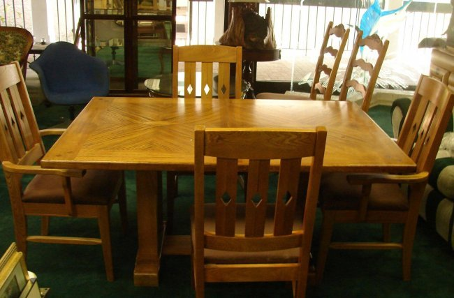 mission style dining room table w 6 chairs lot 150