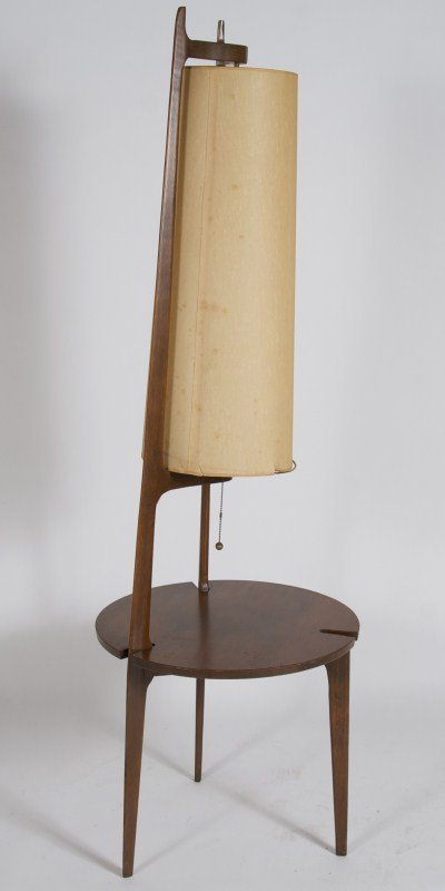 modern walnut table with attached floor lamp lot 248. Black Bedroom Furniture Sets. Home Design Ideas