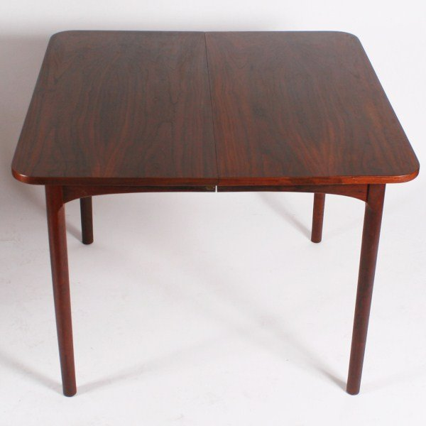 Mid century wood extension dining table lot 14 for Dining table depth