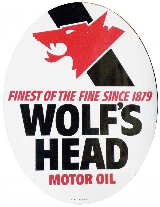 1480 Wolf 39 S Head Motor Oil Porcelain Sign Lot 1480
