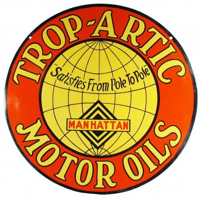 Trop Artic Motor Oils Porcelain Sign Lot 1916