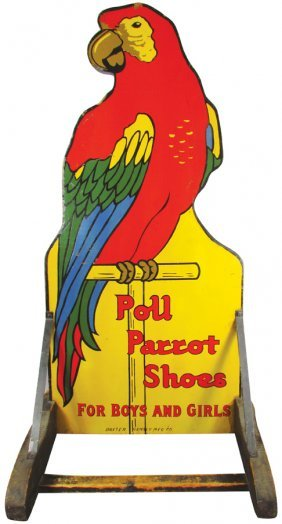 Poll Parrot Shoes Wood Sidewalk Sign