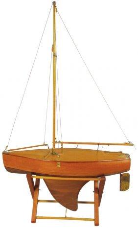 Vintage Wood Pond Yacht Sail Boat