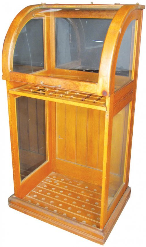 Curved Glass Cane Umbrella Store Display Case Lot 1347