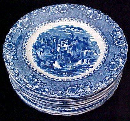 076 9 Alhambra England Flo Blue Plates Lot 76