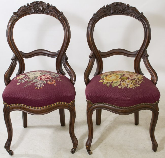 Victorian Parlor Chairs with Needlepoint Seats Lot 175