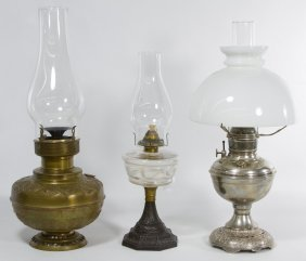 19th century oil lamps with glass shades lot 237. Black Bedroom Furniture Sets. Home Design Ideas