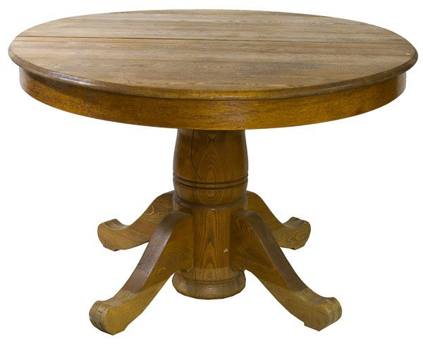American Oak Round Pedestal Table Lot 131 : 210591741l from liveauctioneers.com size 600 x 494 jpeg 37kB