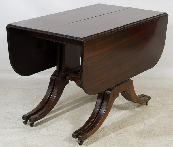 Duncan Phyfe Style Mahogany Drop Leaf Dining Table : Lot 141