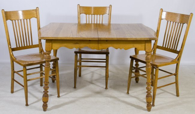 oak kitchen table and chairs lot 121