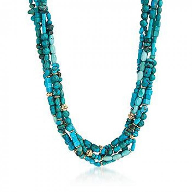 multi strand turquoise bead necklace with 14kt gold lot 117h