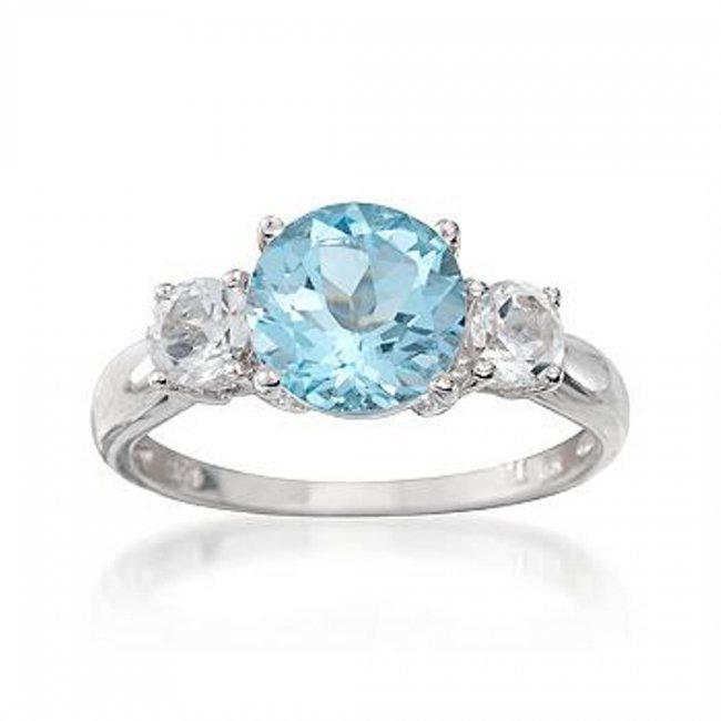 2 40 carat blue topaz and 70 ct t w white topaz ring