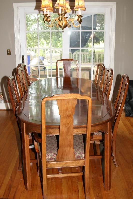 8091 ethan allen formal solid dining room table w 8 ch