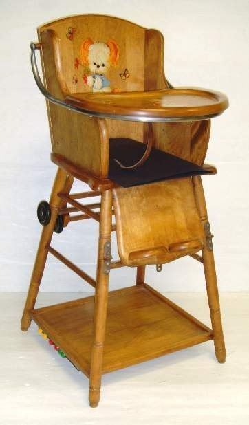 98 vintage decorated maple potty high chair lot 98