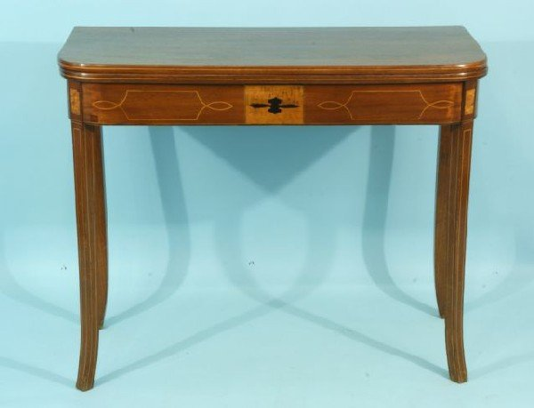 91: MAHOGANY INLAID REGENCY FLIP-TOP GAME TABLE : Lot 91