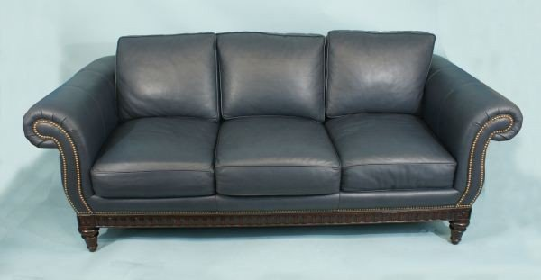 187 blue leather sofa by hancock and moore lot 187