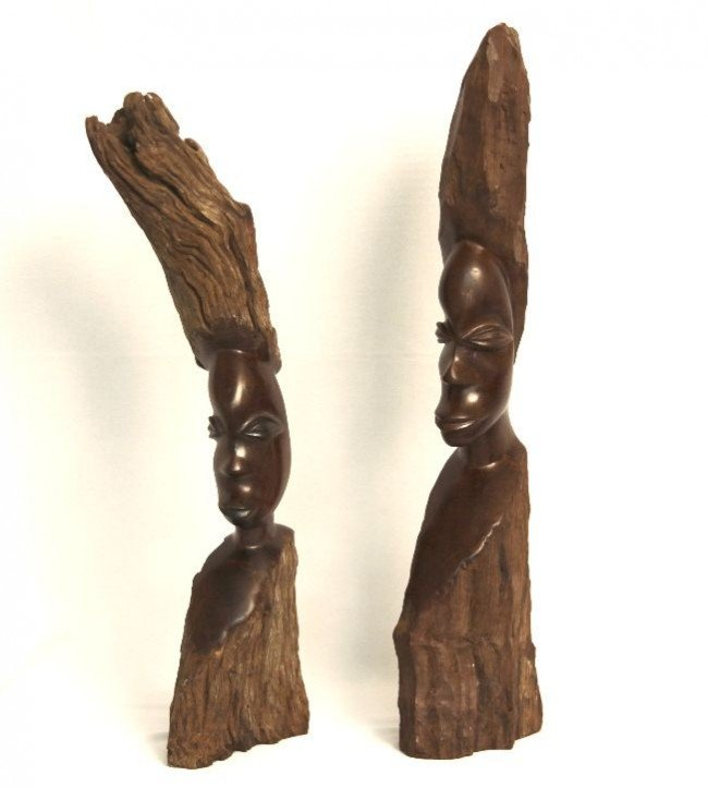 Vintage pair of african wood hand carved head sculpture
